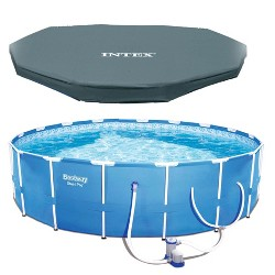 Bestway Steel Pro 12ft x 30in Frame Above Ground Pool Set with Pump and Cover