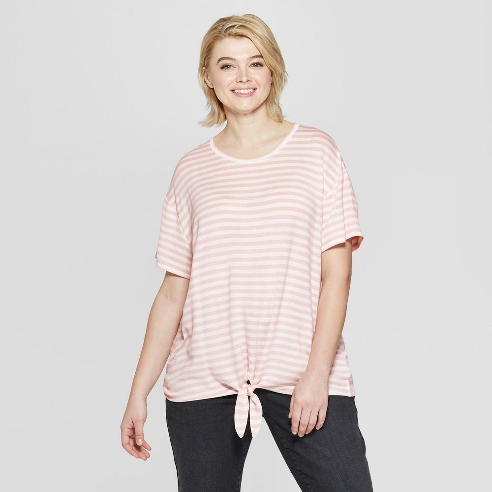 Women's Plus Size Striped Short Sleeve Tie Front T-Shirt - Ava & Viv Pink 2X