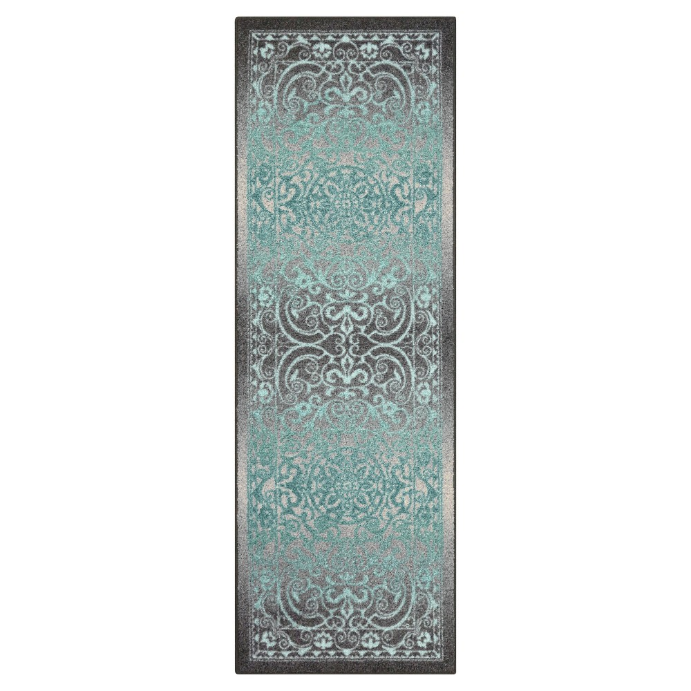 Image of 2'X6' Scroll Tufted Runner Gray - Maples