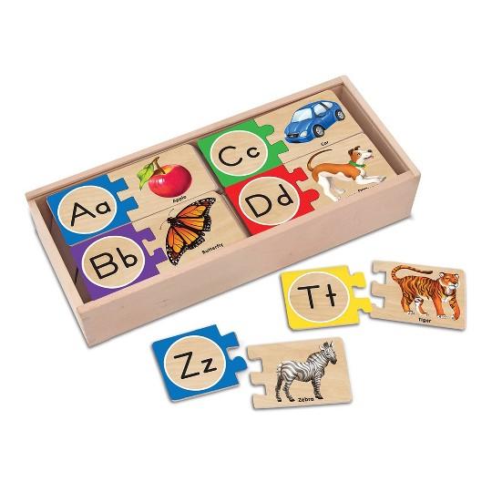 Melissa & Doug Self-Correcting Alphabet Wooden Puzzles With Storage Box 27pc image number null