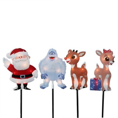 "Rudolph the Red Nosed Reindeer Christmas 4ct Prelit Pathway Marker Outdoor Decoration 12"" - Clear Lights"