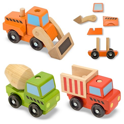 Melissa & Doug® Stacking Construction Vehicles Wooden Toy Set - image 1 of 5