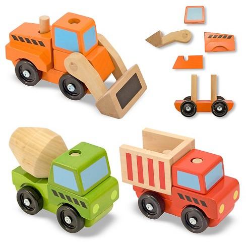 Melissa & Doug Stacking Construction Vehicles Wooden Toy Set - image 1 of 4