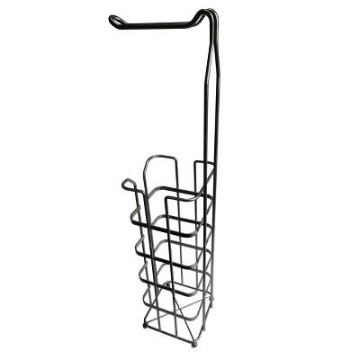 Freestanding Toilet Tissue Paper Rack Silver 25.5  - Elegant Home Fashions