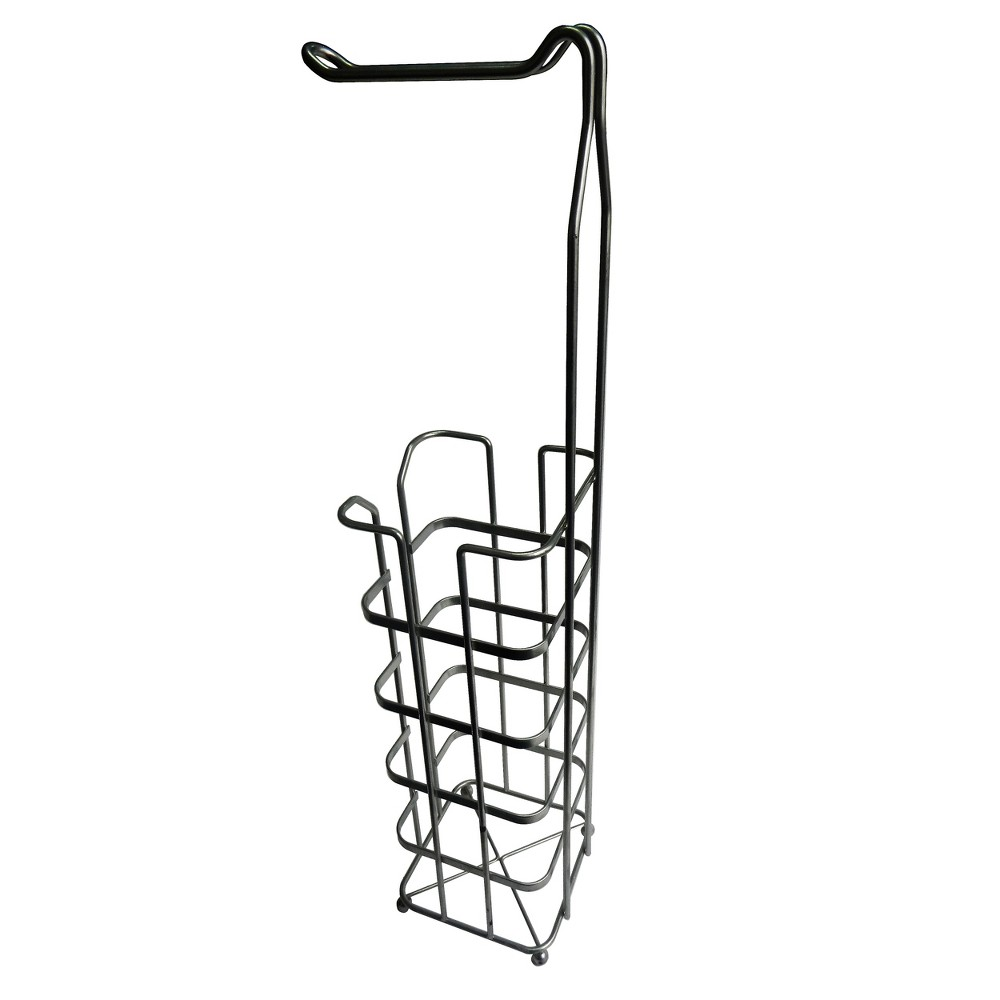 Freestanding Toilet Tissue Paper Rack Silver 25.5 - Elegant Home Fashions, Dark Silver