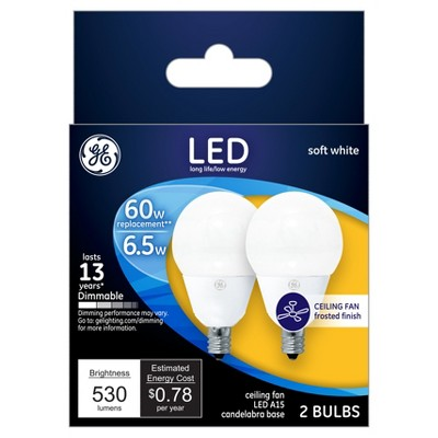 General Electric 2pk LED 60W A15 CAC Ceiling Fan Light Bulb White