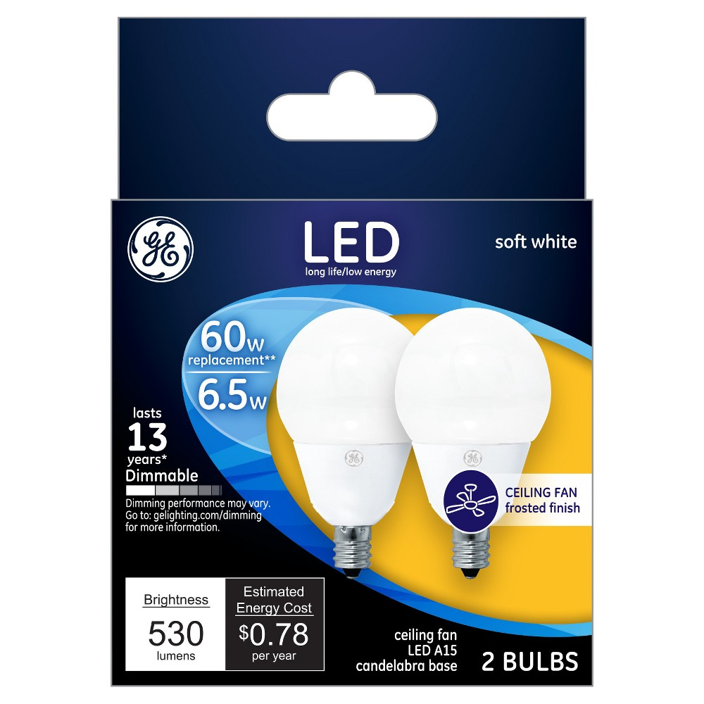 GE Led 60Watt A15 Cac Ceiling Fan Light Bulb (2Pk) - Soft White