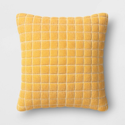 Square Velvet Grid Embroidered Pillow Gold - Threshold™