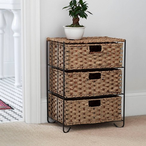 Household Essentials Seagrass and Rattan 3 Drawer Storage Unit - image 1 of 1