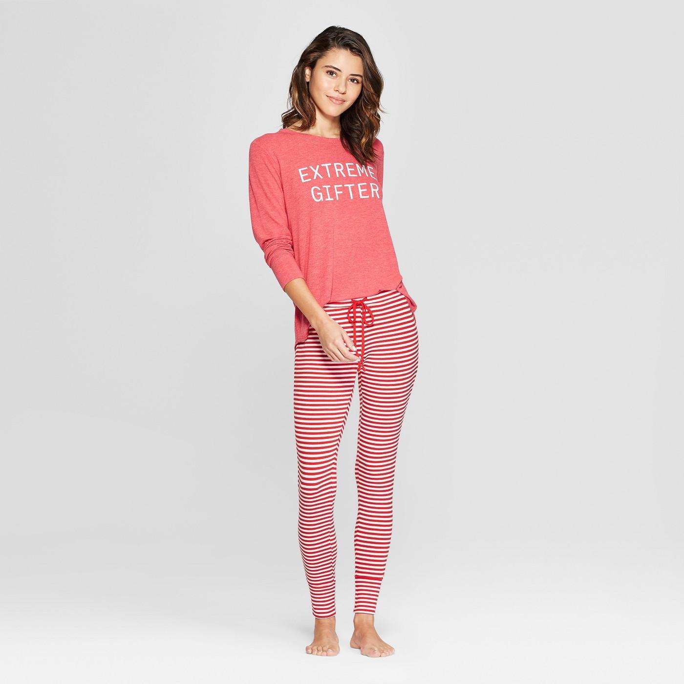 Women's Extreme Gifter Cozy Pajama Set - Xhilaration™ Red - image 1 of 2
