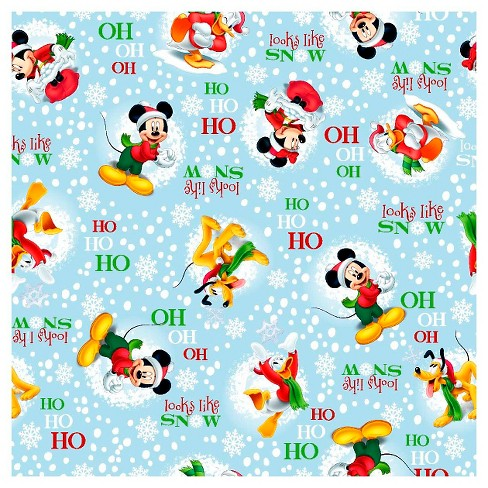 "Mickey and Friends Snow Fabric, Light Blue, 100% Cotton, 43/44"" Width, Fabric by the Yard - image 1 of 1"