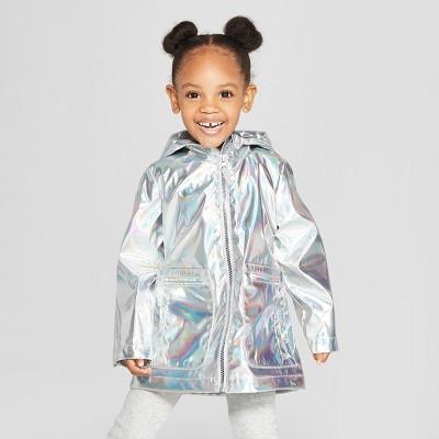 Toddler Girls' Silver Rain Jacket - Cat & Jack™ Silver 12M