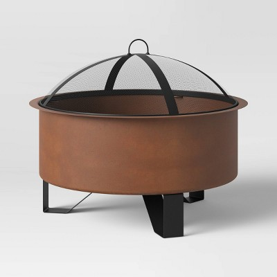 Round Rust Look Wood Burning Outdoor Fire Pit - Threshold™