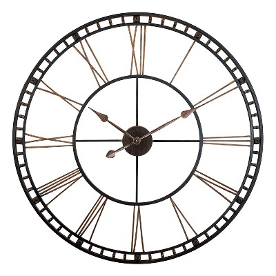 Infinity Instruments 14692 Lightweight 39 Inch Oversized XXL Metal Indoor Home Room or Office Antique Wall Mounted Clock with Quartz Mechanism, Bronze