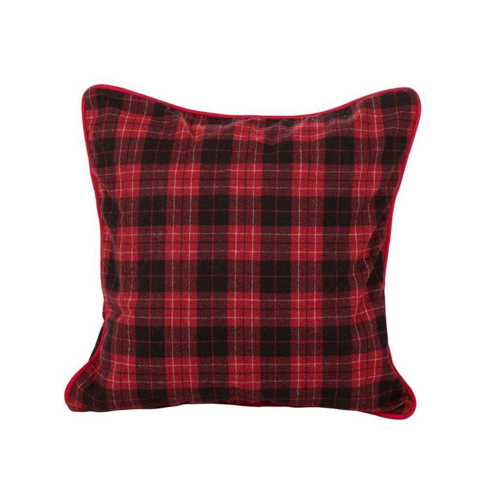 """Image of """"18"""""""" Farmhouse Plaid Throw Pillow Cover Red - Glitzhome"""""""