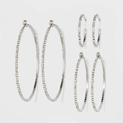 Trio Imitation Rhodium with Glass Crystal Rhinestone Hoop Earring Set 3pc - Wild Fable™ White Crystal
