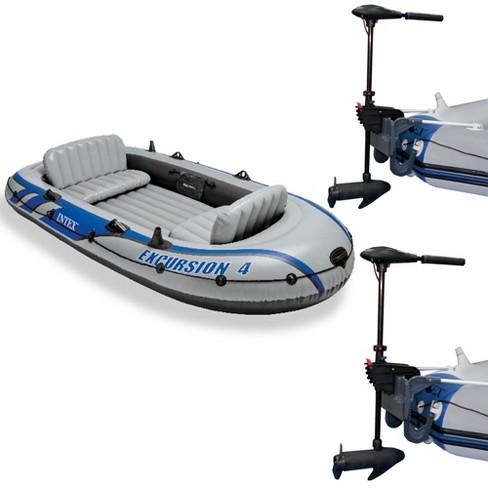 Intex Excursion 4 Inflatable Raft Set W/ 2 Transom Mount 8 Speed Trolling  Motors
