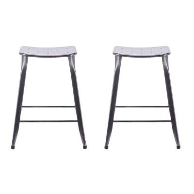"""Set of 2 24"""" Lennon Saddle Backless Counter Height Barstools - ACEssentials"""