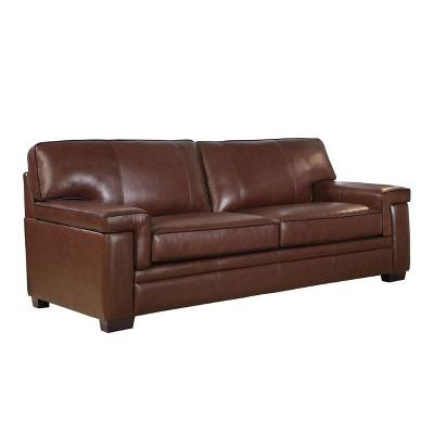 Evan Top Grain Leather Sofa Brown   Abbyson Living : Target