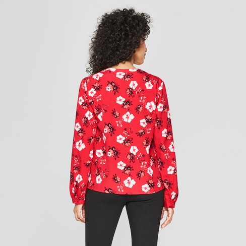 8ba3ecb3a00fa Women s Floral Print Long Sleeve Blouse - A New Day™ Red   Target