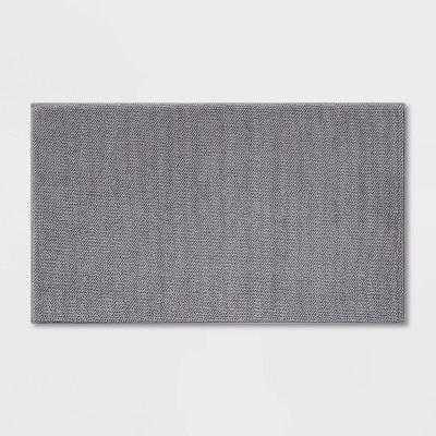 "20""x34"" Fine Chenille Memory Foam Bath Rug Dark Gray - Threshold™"