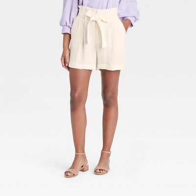 Women's High-Rise Paperbag Shorts - A New Day™