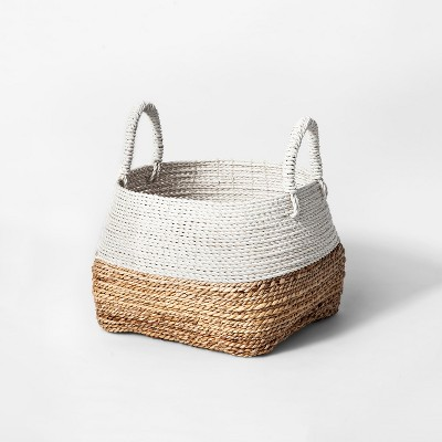 17  x 15.8  Abacá Basket With Handles Natural/White - Threshold™