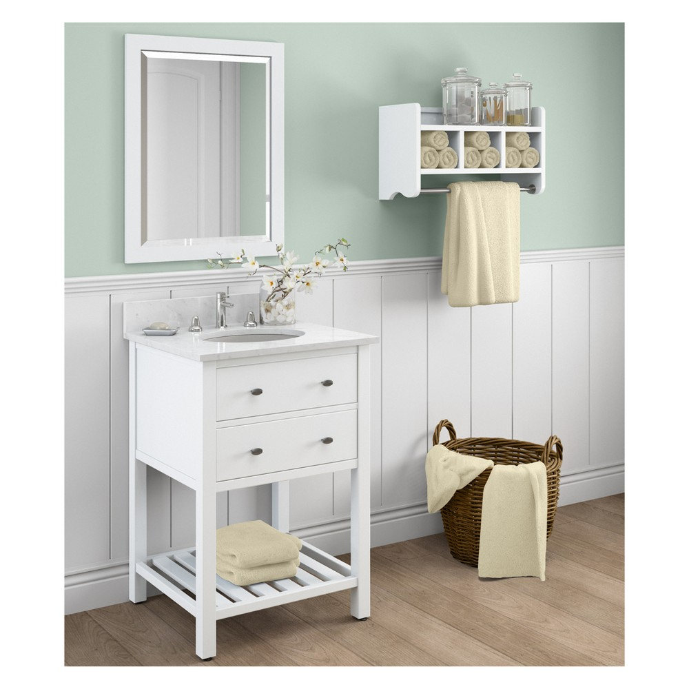 Harrison with White Marble Sink Top and Bath Storage Shelf and Vanity Mirror Set Bath Vanity Cabinet White 25 - Alaterre Furniture