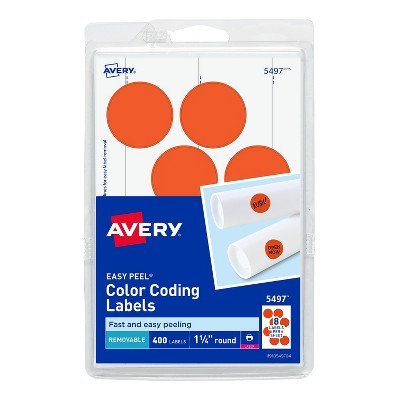 """Avery Laser Color Coding Labels 1 1/4"""" Dia. Neon Red 8/Sheet 13292"""