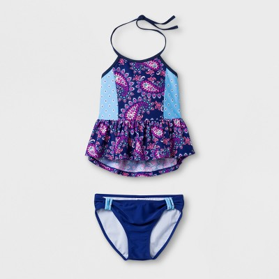 Malibu Dream Girl Girls' Paisley Fantasy 2pc Tankini Set - Blue 7