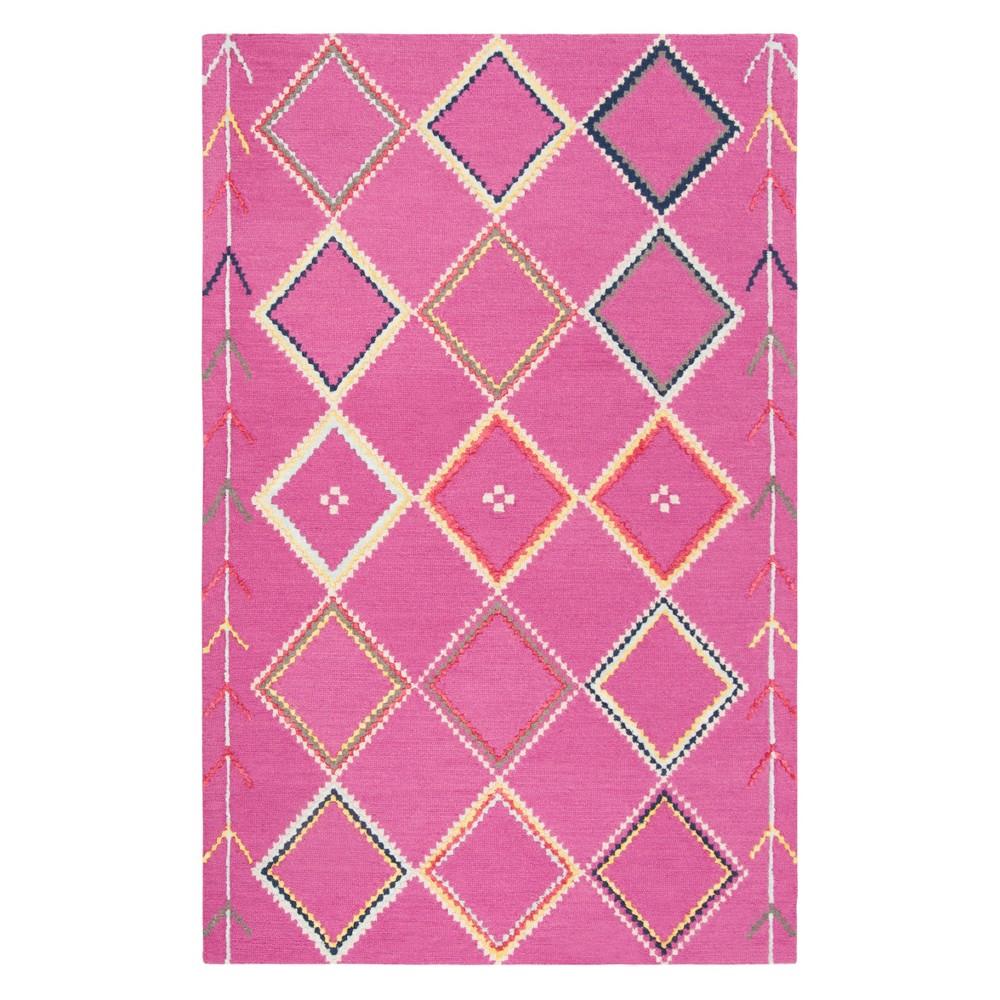 4'X6' Geometric Tufted Area Rug Fuchsia - Safavieh, Pink/Multi-Colored