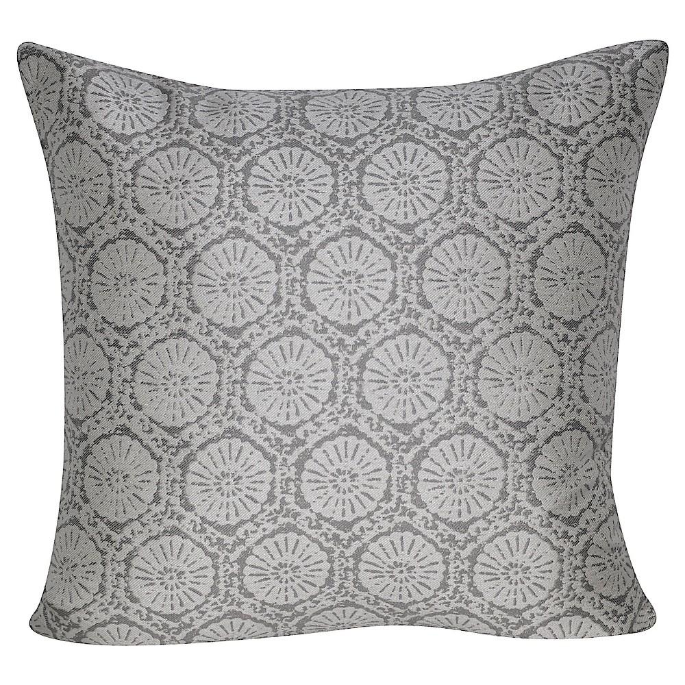 Blue Stamped Indoor/Outdoor Throw Pillow (