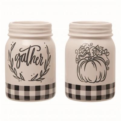 Transpac Ceramic White Harvest Buffalo Check Jar Set of 2