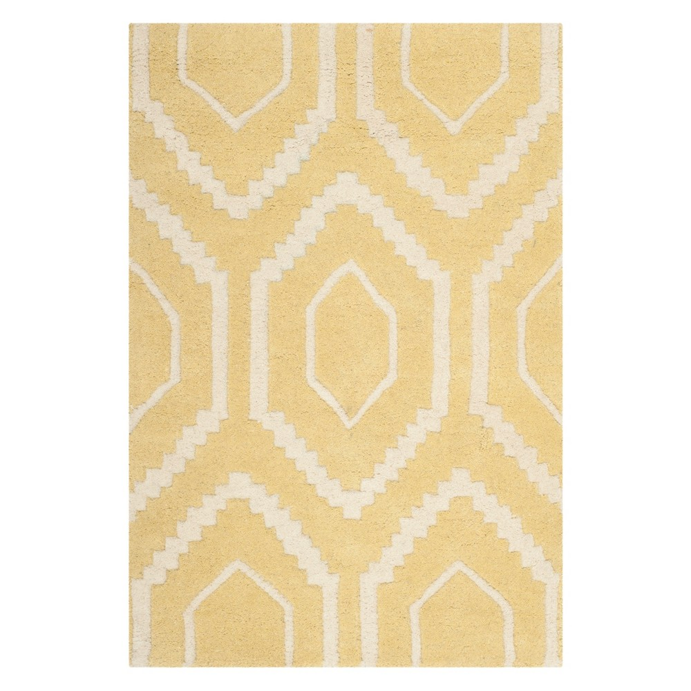 2'X3' Geometric Tufted Accent Rug Light Gold/Ivory - Safavieh