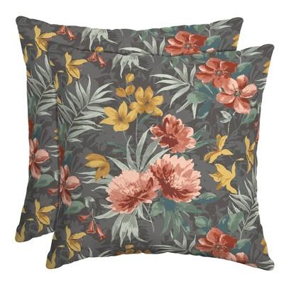 2pk Phoebe Floral Outdoor Throw Pillows Gray - Arden Selections