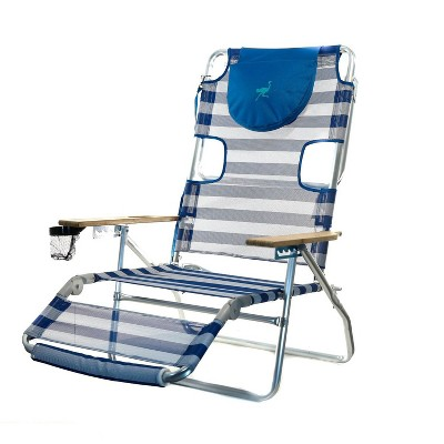 Ostrich 3 N 1 Lightweight Aluminum 5 Position Reclining Beach Chair, Striped