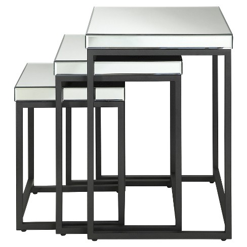 3 Piece Square Mirror Nesting Tables with Metal Legs - Office Star - image 1 of 5