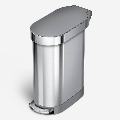 simplehuman 45L Liner Rim Slim Step Trash Can Brushed Stainless Steel with Plastic Lid