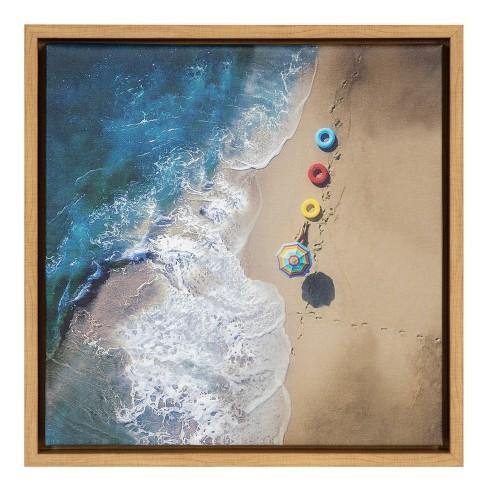 16 X 16 Hi Summer Beach Framed Canvas Wall Art Amanti Art Target