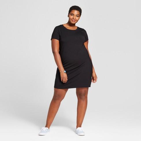 0e913ba90a1 Women s Plus Size T-Shirt Dress - Ava   Viv™ Black   Target
