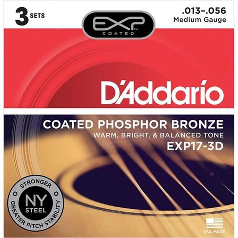 D'Addario EXP17-3D Coated Phosphor Bronze Medium Acoustic Guitar Strings 3-Pack - image 1 of 2