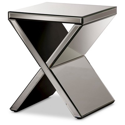 Morris Modern and Contemporary Hollywood Regency Glamour Style Accent Side Table - Silver - Baxton Studio