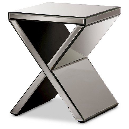 official photos 6a7b7 1ca72 Morris Modern and Contemporary Hollywood Regency Glamour Style Accent Side  Table - Silver - Baxton Studio