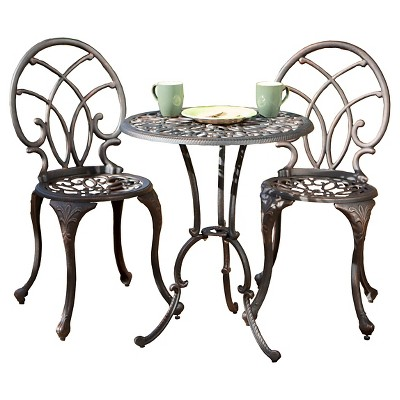 Charleston 3pc Cast Aluminum Patio Bistro Set - Bronze - Christopher Knight Home