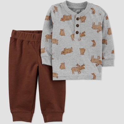 Baby Boys' 2pc Woodland Top & Bottom Set - Just One You® made by carter's Brown Newborn