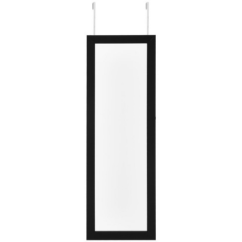 Parker Black Over-the-Door Jewelry Armoire - Makeup Storage Mirror in Black - Posh Living - image 1 of 3