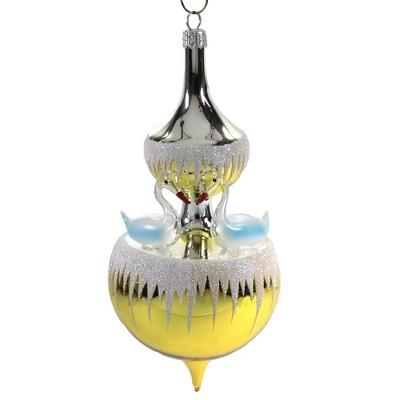 "Italian Ornaments 6.5"" Swan Fountain Ornament Christmas Carousel  -  Tree Ornaments"
