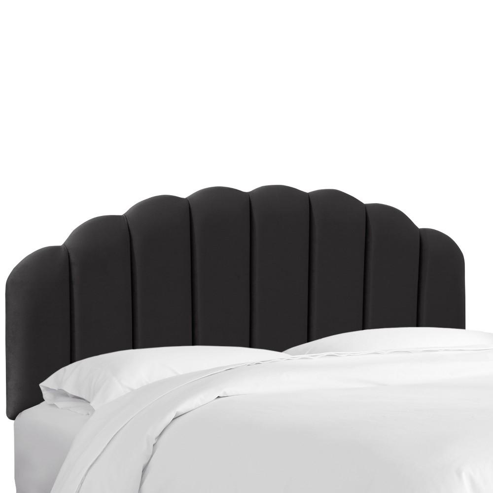 Queen Shell Headboard Black Velvet - Skyline Furniture