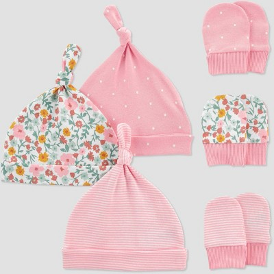 Baby Girls' 6pk Hat and Mitten Set - Just One You® made by carter's Pink/Off-White