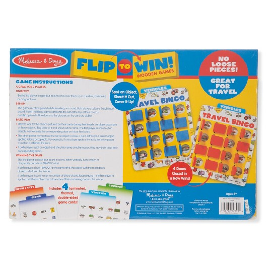 Melissa & Doug Flip to Win Travel Bingo Game - 2 Wooden Game Boards, 4 Double-Sided Cards, Kids Unisex image number null
